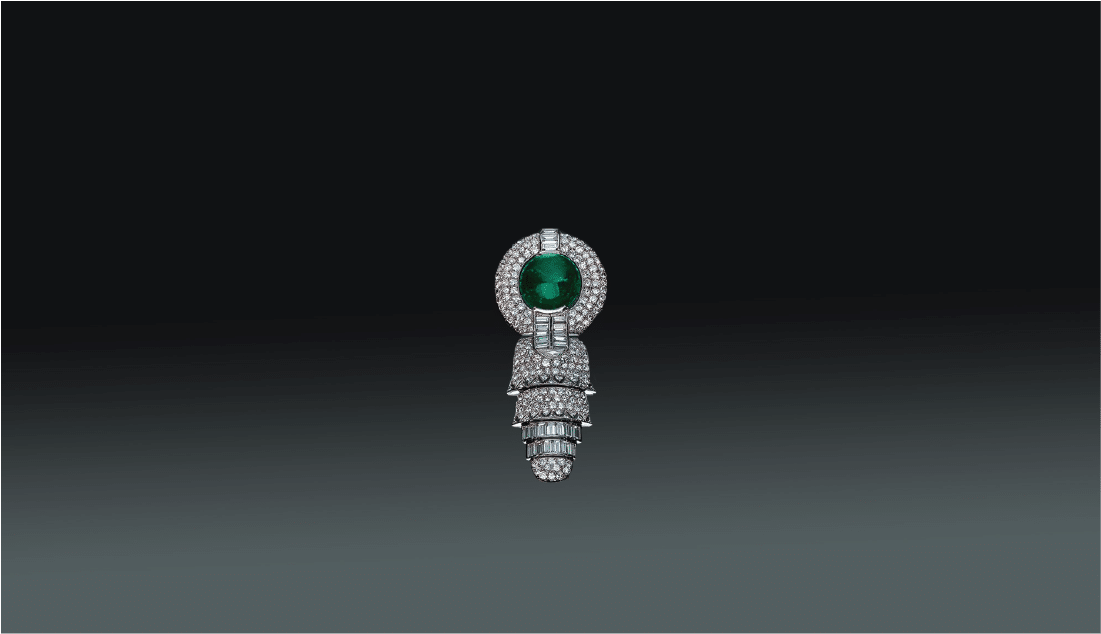 Cabochon Emerald & Diamond Brooch by Rene Boivin