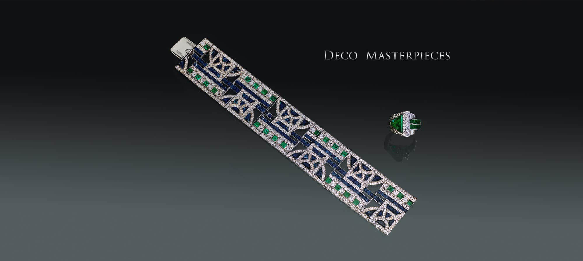 Rare Sapphire, Diamond, & Emerald Bracelet in Platinum by Georges Fouquet, designed by Leveille. Circa 1925, Art Deco Diamond & Emerald Ring in Platinum