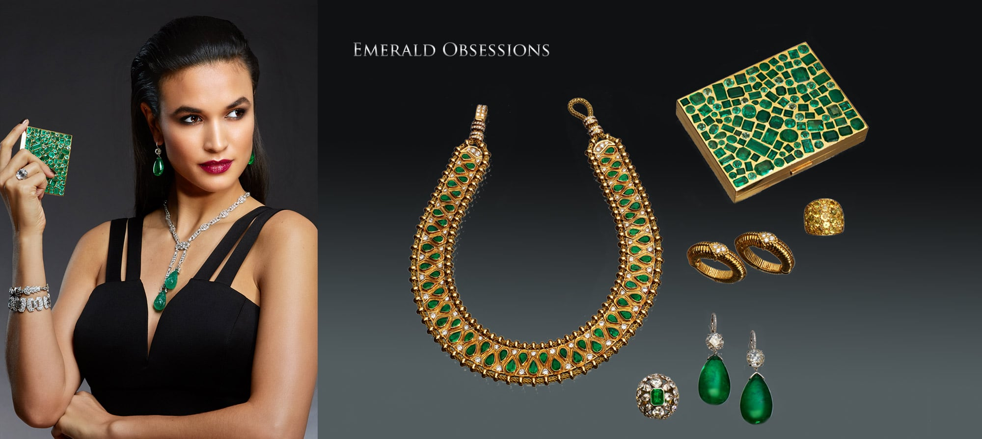 """Emerald and Diamond """"Hindu"""" Necklace by Rene Boivin, Paris. Circa 1950, Emerald Compact by Suzanne Belperron. Circa 1935, Citrine and Yellow Sapphire Ring by Rene Boivin, Paris Gold and Diamond Earrings by Van Cleef & Arpels. Circa 1960, Emerald and Diamond Pendent Earrings, Emerald and Diamond Ring by Rene Boivin, Paris"""