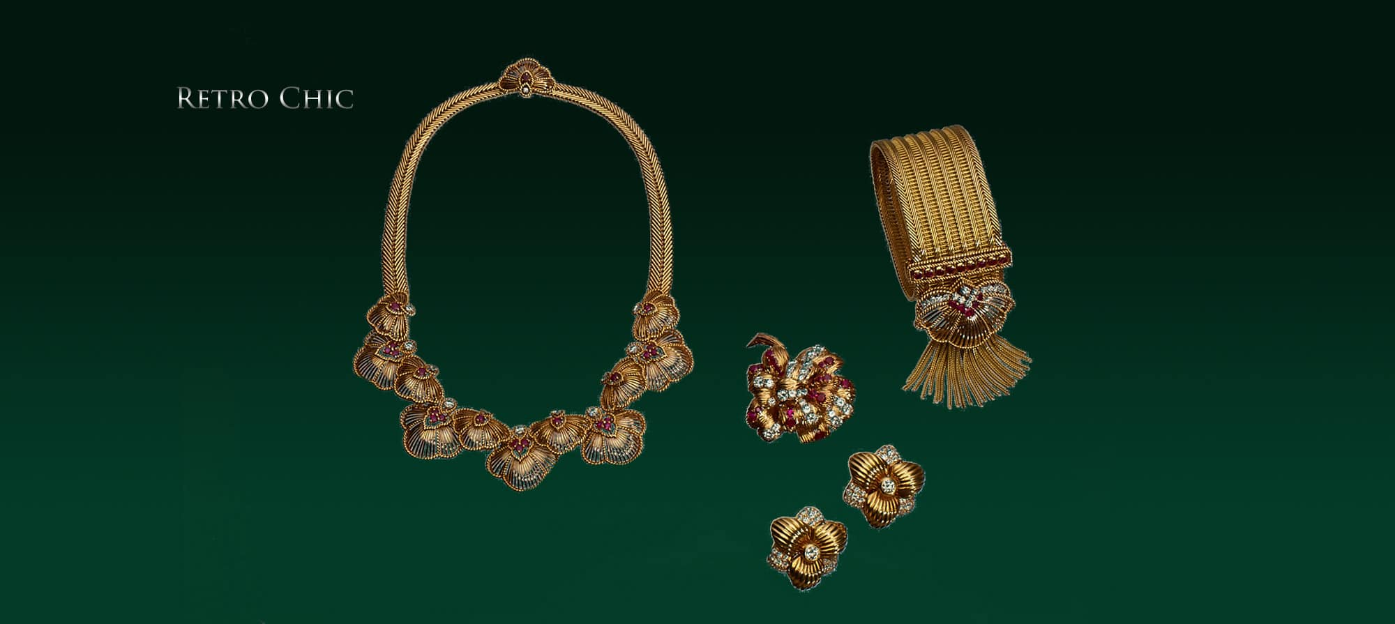 Ruby & Diamond Flower Necklace in Gold by Champagnat, Ruby and Diamond Brooch by Van Cleef & Arpels. Circa 1960, Ruby and Diamond Bracelet with Detachable Clip by Champagnat, Gold and Diamond Earrings by Boucheron. Circa 1950