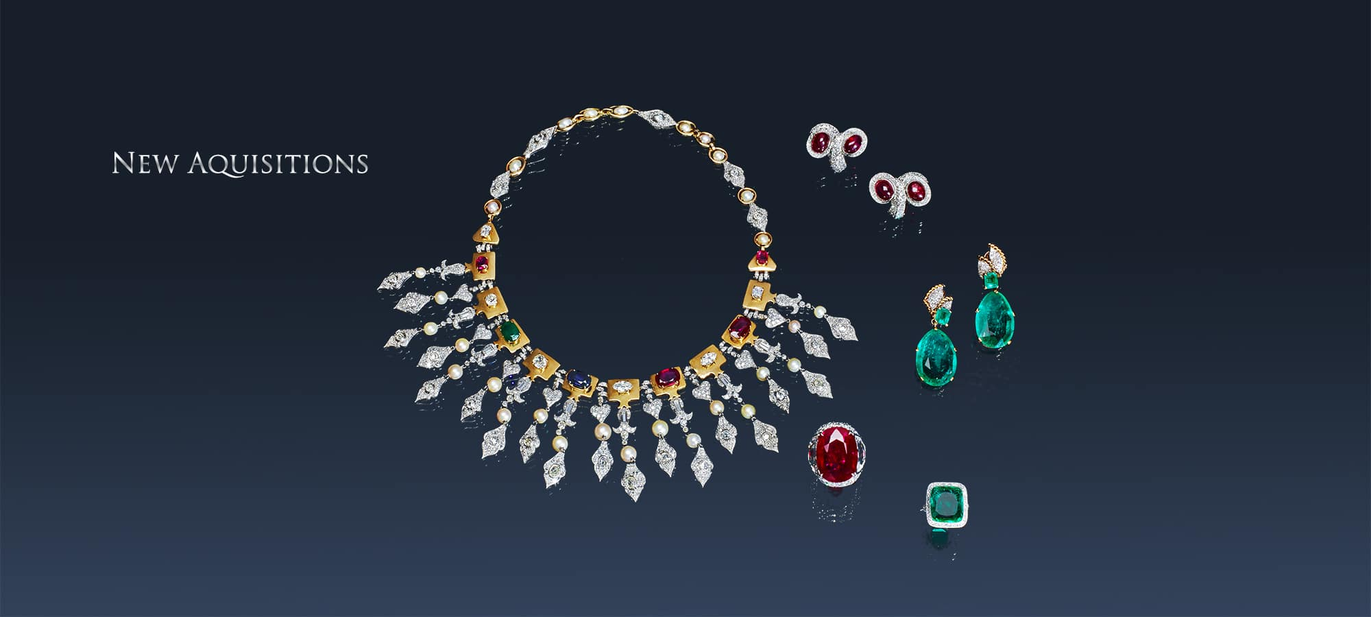 Ruby, Diamond, Emerald, Sapphire, and Natural Pearl Necklace by Rene Boivin for the Great French Poet Louise Leveque De Vilmorin, Ruby and Diamond Ring, Edwardian Emerald and Diamond Ring, Emerald and Diamond Earrings by Cartier, Cabochon Ruby and Diamond Earrings by Suzanne Belperron, Paris