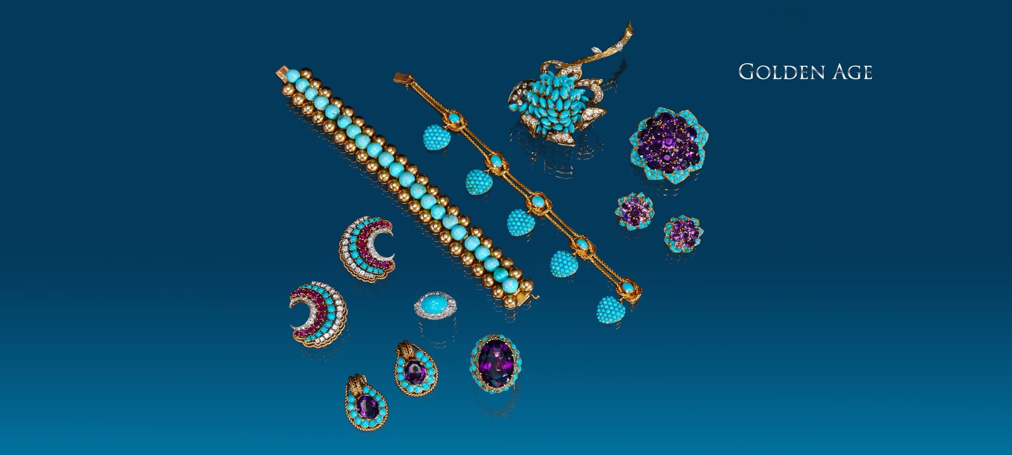 Turquoise and Gold Bracelet by Van Cleef & Arpels, Paris, Antique Gold and Turquoise Bracelet, Turquoise and Diamond Flower Brooch, French, Amethyst and Turquoise Brooch and Earrings Set by Cartier, Paris, Turquoise and Amethyst Ring and Earring Suite, Turquoise and Diamond Ring by Cartier, Paris, Ruby, Diamond and Turquoise Earrings