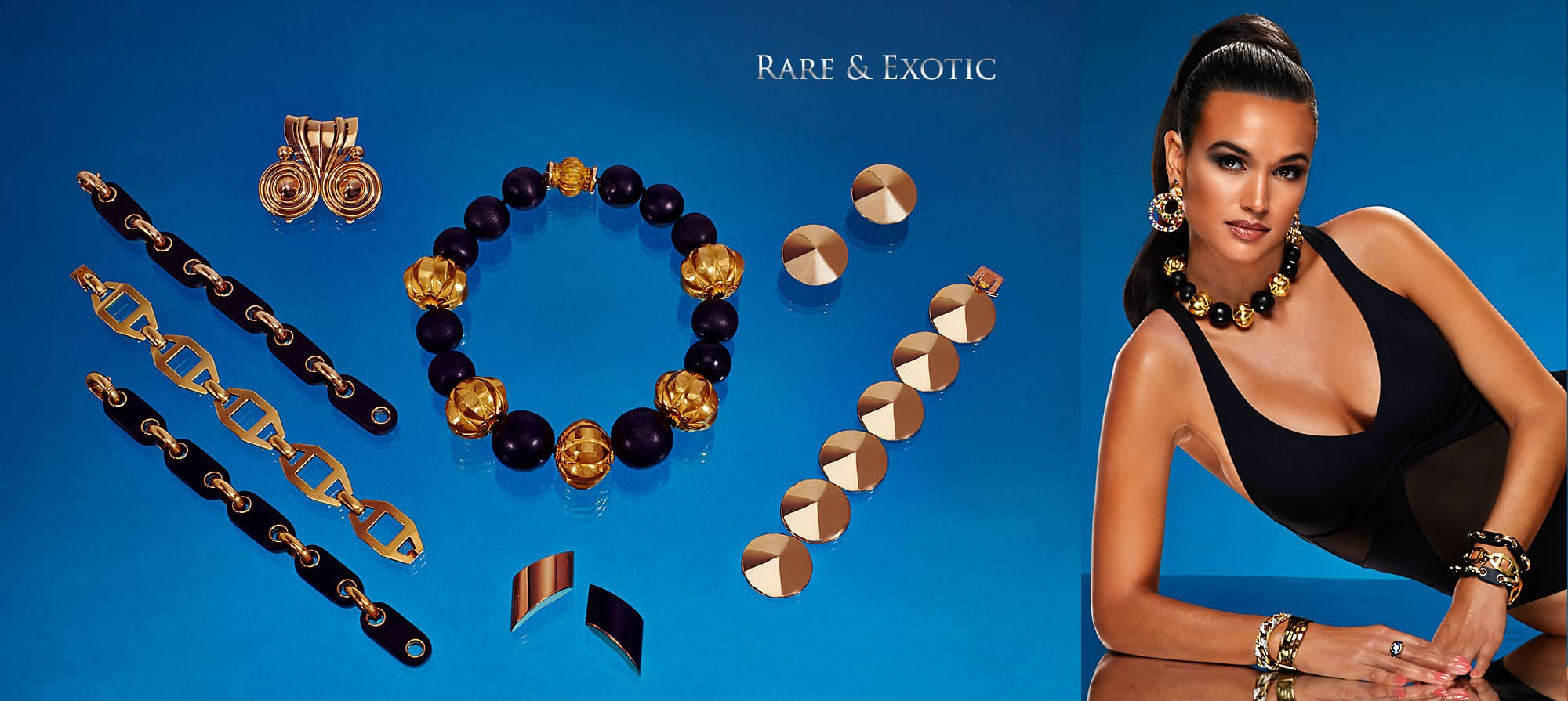 Pair of Wood Bracelets in Gold/ Convertible to a Necklace, by Van Cleef & Arpels, Gold Bracelet by Boucheron, Paris. Circa 1935, Gold Swirl Clip by Rene Boivin, Paris, Wood Bead and Gold Necklace by Verdura, Wood and Gold Earrings by Vhernier, Gold Chapeau Chinois Bracelet and Earring Set by Van Cleef & Arpels, Three Stone Sapphire Gypsy Ring in Gold, Gold Bracelet by Paul Flato, Diamond and Gold Bracelet by George L'Enfant for Van Cleef & Arpels