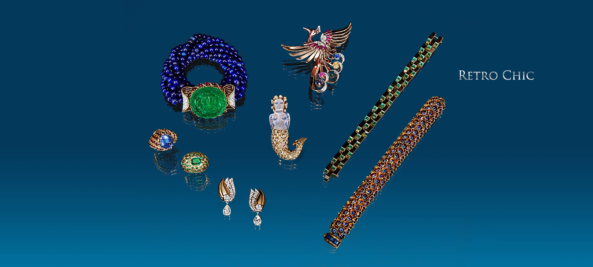 Carved Emerald, Ruby and Diamond Bracelet with Lapis Beads by Cartier, Paris. Formerly in the Estate of the Rothchild Family, Sapphire and Ruby Ring in Gold by Marshack, Paris, Emerald Ring in Gold by Rene Boivin, Paris, Diamond and Gold Earrings by Suzanne Belperron, Paris, Sapphire Flower Bracelet in Gold by Boucheron, Paris, Emerald Escalier Bracelet by Boucheron, Paris, Rock Crystal and Diamond Mermaid Brooch in Gold by Rene Boivin, Paris, Multi-Color Sapphire and Diamond Phoenix Brooch in Gold