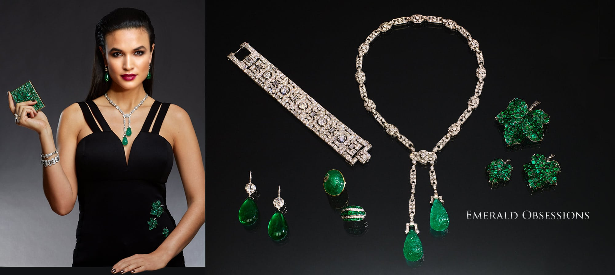 Emerald-cut 10 carat Diamond Ring, Emerald Compact by Suzanne Belperron. Circa 1935, Emerald and Diamond Pendent Earrings, Art Deco Carved Emerald and Diamond Necklace, Set of three Emerald Leaf Brooches by Pat Saling, Art Deco Diamond Bracelet by Chaumet, French Art Deco Diamond Bracelet, Emerald & Diamond Ring by Rene Boivin. Circa 1950, Carved Emerald and Diamond Ring, French Diamond Bracelet. Circa 1920