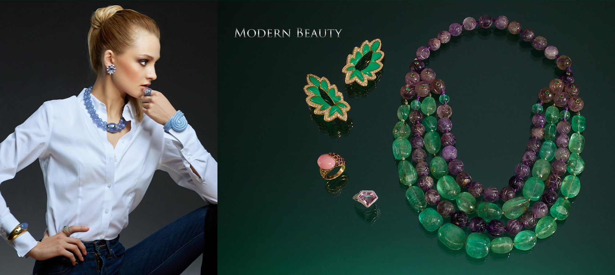 French Green Chalcedony and Diamond Earrings. Circa 1960, Emerald and Amethyst Necklace by Suzanne Belperron. Circa 1940, Art Deco Morganite & Diamond Ring, Conch Pearl, Amethyst, & Peridot Ring by Rene Boivin, Paris