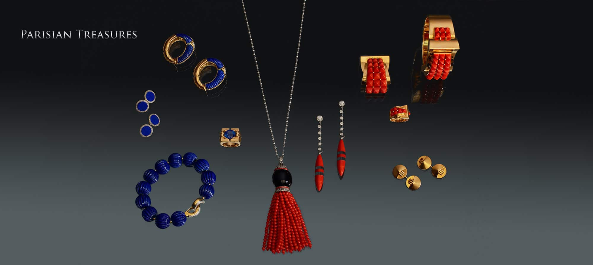 """Lapis & Diamond Bracelet by Cartier, Paris, French Lapis & Diamond Cufflinks, Lapis & Diamond Earrings in Gold by Van Cleef & Arpels, Sapphire Ring in Gold by Van Cleef & Arpels, Art Deco Coral, Natural Pearl, and Onyx Sautoir, Art Deco Diamond, Coral, and Onyx Earrings, Coral Brooch in Gold by Chaumet, Paris, Coral Bracelet in Gold by Chaumet, Paris, Coral Ring in Gold by Chaumet, Paris, """"Chapeau Chinois"""" Cufflinks in Gold by Rene Boivin, Paris"""