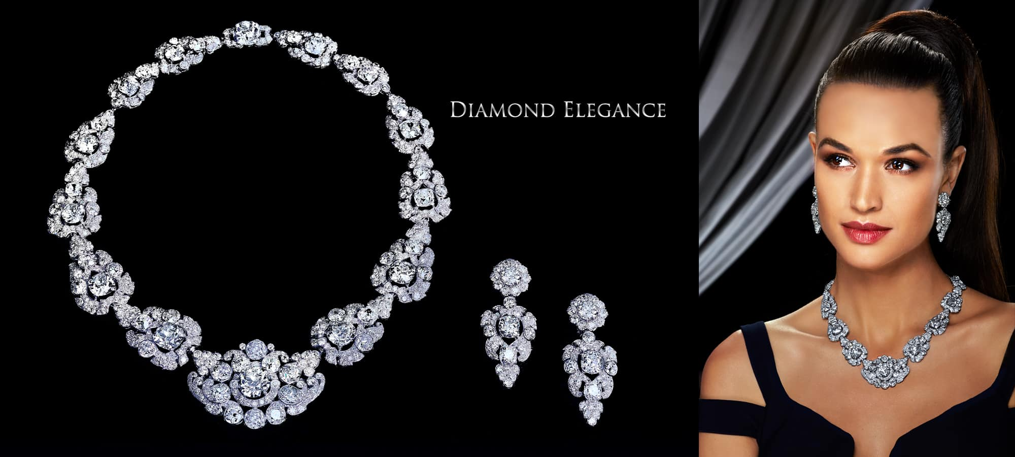 Extraordinary Diamond and Platinum Necklace and Earring Suite by Cartier, London. Circa 1935.